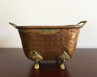 Copper Footed Planter / Square Planter / Rustic Chic / Copper and Brass /  Planter Tub