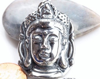 Sterling Quan Yu Priestess Charm/ Pendant,  Sterling Priestess Face Charm, Reversible Goddess of Compassion Charm