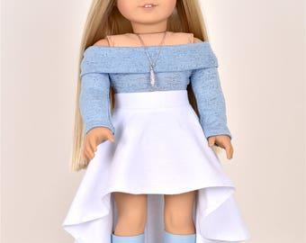 High Low Skirt  18 inch doll clothes White EliteDollWorld EDW