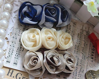 Tulle Flower Appliques Rose Flowers 4 pcs For Wedding Dress Bridal Costume Headware Supplies