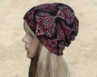 Womens slouchy hat, Fall slouch beanies, Fabric hat women, Tribal print hat, Boho autumn beanie, Casual beanie hat, Women's hat slouchy