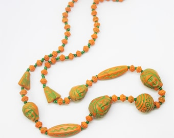 1920s Max Neiger Neiger Brothers Egyptian Revival Czech Glass Scarab Pharaoh Necklace Orange Green Glass