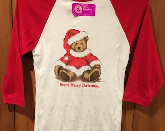 Vintage Christmas Bear Dallas Alice Women's XS/S 1982 Beary Merry Christmas 80s Deadstock 3/4 Sleeve Raglan Holiday Shirt Santa Bialosky