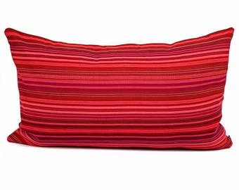 Red Boho pillow cover - Bright red Guatemalan striped pillow - Red Mexican, Mayan, Southwest, South West  Boho pillow, Tribal pillow
