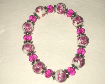 Pink and White flowers with silver crystal bead stretch bracelet