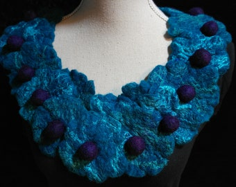 Felted necklace, collar for women. Blue purple jewelry, wool and silk.