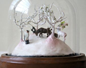 Miniature Diorama Fantasy Fairy tale Micro World Glass Dome Tiny Deer: The Discovery of a Sacred Deer