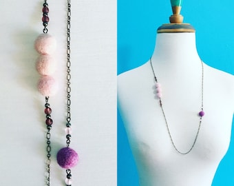 Kedzie Felt Necklace in Rose Pink / Lavender, Layering Necklace, Gift Under 30, Recycled Glass, Eco Friendly Jewelery, Felt Balls, Asymmetry