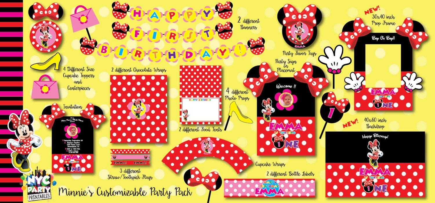 Minnie Mouse Birthday Minnie Mouse Party Pack with Photo