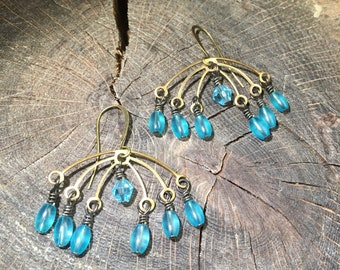 Earrings vintage brass with dangling sea blue glass beads