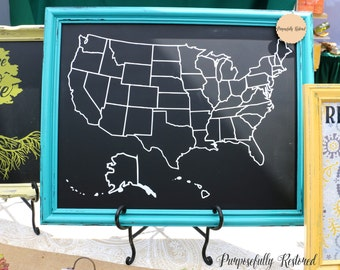 Chalkboard map etsy usa map w state borders chalkboard home decor framed chalkboard art gumiabroncs Image collections