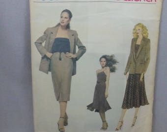 Vintage Vogue 2140 American Designer Calvin Klein Jacket, Dress, Camisole and Skirt Misses Size 8