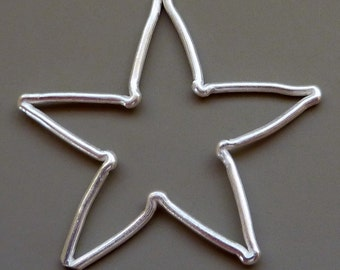 Silver Star Connector Large Charm Hill Tribe Silver Large 38mm