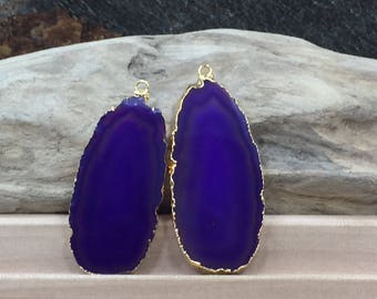 Purple Agate Slice, Purple Agate Slice Pair, Purple Geode Slice Pair, Purple Geode Slice, Purple Agate Slice, Dyed, Gold Plated, PG3810AB