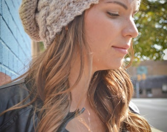 Cable Knit Beanie MANY COLORS, Chunky Slouchy Hat, Knitted Beanie, Beret, Oversized Chunky Hat, Slouch Beanie Handmade, Winter Accessories