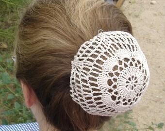 Natural Hair Net / Bun Cover Sz Medium Crocheted Flower Style Amish Mennonite