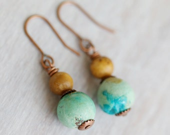 Chrysocolla and Coral Dangle Earrings, Handmade Earrings