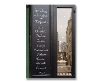 Paris Photography on Canvas - Patisserie Menu Sign, Gallery Wrapped Canvas, Large Wall Art, Architectural Urban Home Decor,
