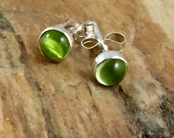 Peridot stud earrings.  Round stud earrings.  Post earrings. Green.  Peridot gemstones. Minimalist earrings.  Every day wear.