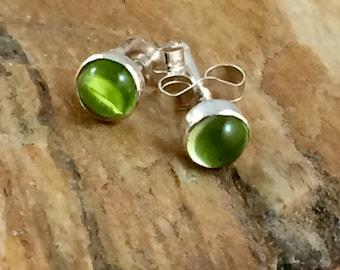 Peridot stud earrings.  Round stud earrings.  Post earrings. Green.  Peridot gemstones. Minimalist earrings.  Every day wear.