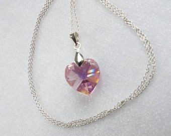 Swarovski crystal heart pendant with sterling silver bail and chain