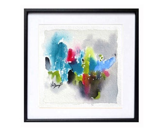 Floral, abstract, painting, small abstract, Modern art, Flower wall art, Watercolor original, Bright colors, Blue abstract, Green Painting