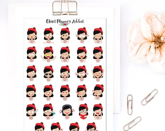 Girls In Red Beret's Expressions Planner Stickers | Emoji Stickers | Mood Trackers | Anxiety Trackers | Emoticon Stickers (S-296)
