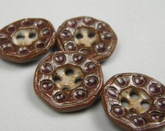 ceramic buttons--textured--deep burgundy