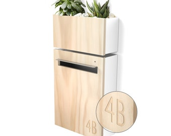 Modern Mailbox with Wall Planter - White Powder coated Body, Stainless Steel Visor and Hardware + Timber Front.
