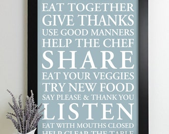 Family Rules Sign Subway Art Print House Rules Family Rules Poster Kitchen Art Decor Manners
