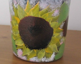 ON SALE Storage Container with lid great for Doggie treads hand painted Sunflowers, leaves, great Birthday gift, Housewarming, Bridal shower