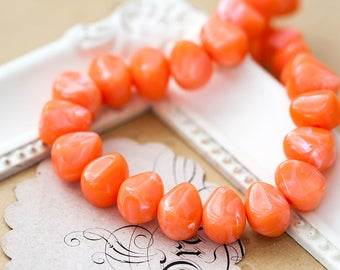 Vintage Lucite Beads Bright Orange White Swirl Chunky Rondelle Lucite Beads 8x7x10mm