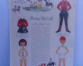 Vintage Betsy McCall Visits Roy Rogers' Ranch Magazine Page November 1959 , Betsy McCall Paper Doll , McCall's Magazine , Vintage Paperdoll