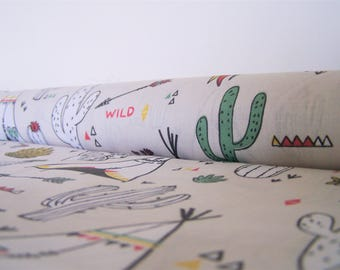 Coupon teepees and cacti, 50 x 50 cm, cotton fabric