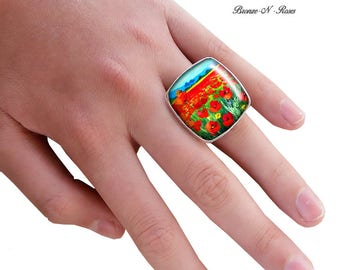 Square ring silver glass poppy field painting bronze-n-roses