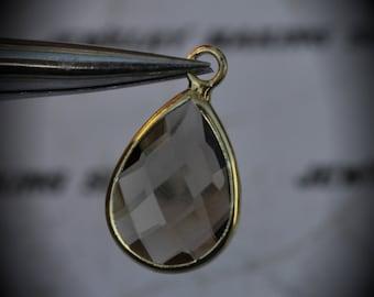 Gold Plated Bezel Brass Faceted Glass Tear Drop Pendant - Smoky