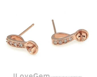 NP-1314 Rose Gold plated, Earring, Ear Stud for Half Drilled Beads,  925 sterling silver post, 2pcs
