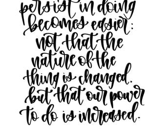 Digital Calligraphy Print | Power to Do Heber J Grant Quote | Instant Download