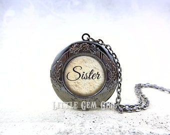 Personalized Sister Locket -  Custom Sister Necklace  Keepsake Jewelry - Round Photo Locket Silver Bronze or Gunmetal & 17 Designs Available