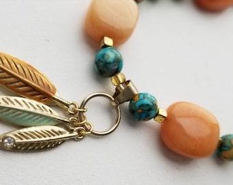 Gold Feathered Necklace/Orange/Blue/Turquoise