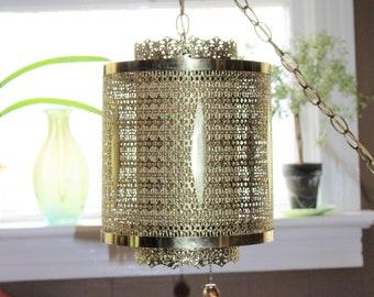 Hollywood Regency Swag Lamp Hanging Lamp Vintage Lighting