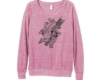Women Sweatshirt - Heart Sweater -  Womens Anatomical heart Sweatshirt  - TATTOO - Small, Medium, Large, Extra Large