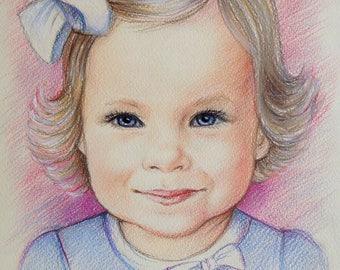 8x12 Custom portrait, baby Portrait, personalized gift, family portrait, pencil portrait, drawing, portrait from photo,personalized portrait