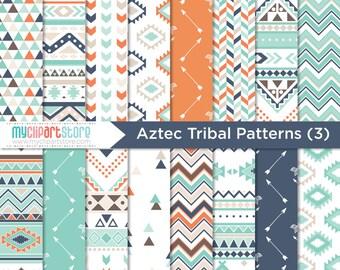 Papier numérique - Tribal (#3), Indiens d'Amérique, ethnique, motif géométrique, papier de scrapbooking, tutoriel, utilisation commerciale, JPEG, PDF