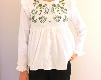 White Peplum Ruffle floral Embroidered Top Blouse