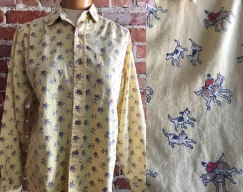 Cambridge Dry Goods Button down Long Sleeve Yellow Oxford with Equestrian/Dog/Horse Motif, Equestrian, Beagle Hound Blouse, Dog Gift