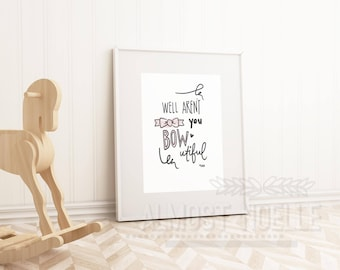Cute Bow Typography Print-Pink