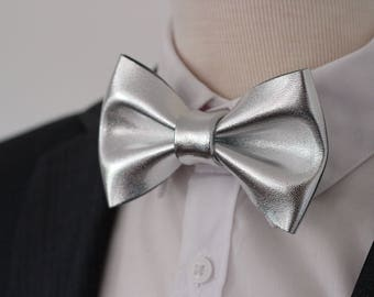 White bow tie, Silver genuine leather bow tie for men, silver white wedding bow tie, genuine silver leahther bowtie, silver bow tie