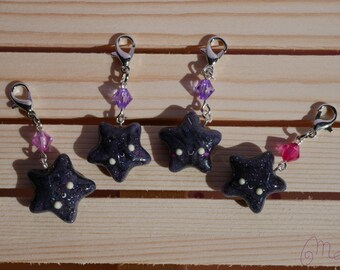 Charms black stars glitter polymer clay with tiny colorful / smiling star charms