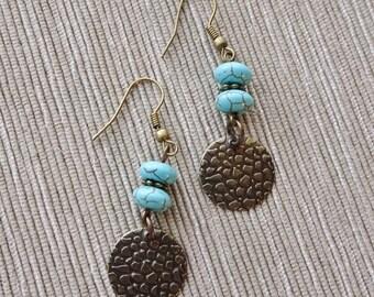 Turquoise Bead Antique Brass Medallion Earrings , Turquoise Earrings, Dangle Earrings, Magnesite Bead Earrings, Boho, Southwestern